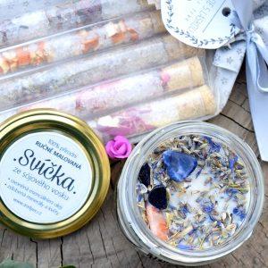 ~VĚŘÍM~ Dárkový balíček s přírodní svíčkou a solí do koupele