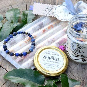 ~VĚŘÍM~ Dárkový balíček s náramkem, přírodní svíčkou a solemi do koupele