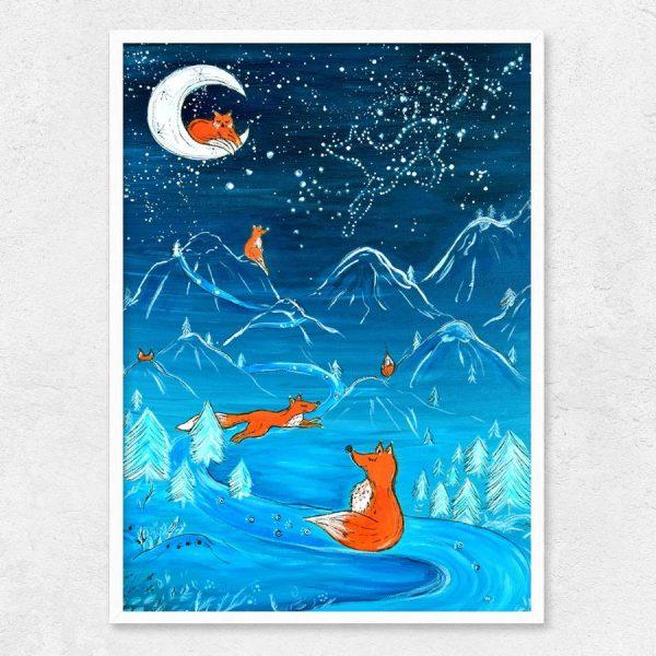 Autorský ilustrovaný plakát *SPOLU NA ZEMI I VE VESMÍRU*, formát A3, bez rámu