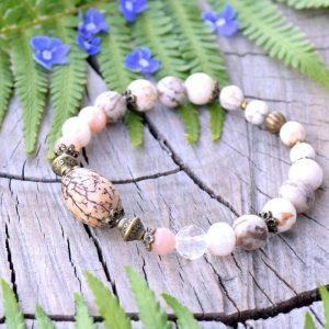 ~MEDITACE~ Bodhi náramek s pravými perlami a magnezitem