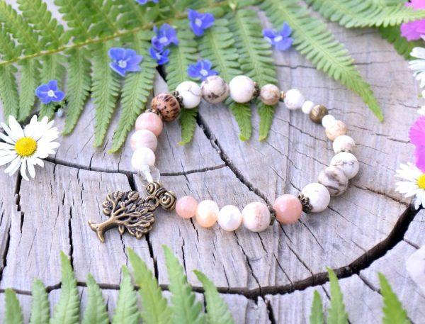 ~MEDITACE~ Perlový náramek s magnezitem a slunečním kamenem, strom života