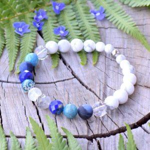 ~OCEAN~ Minerální náramek z modrých minerálů a měsíčního kamene, nerezová ocel