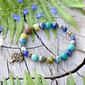~Z TAJEMNÉHO LESA~ Minerální náramek z regalitu a lapisu lazuli, strom života