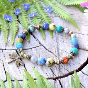 ~Z TAJEMNÉHO LESA~ Minerální náramek z amazonitu a lapisu lazuli, vážka