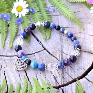 ~MAGIE~ Minerální náramek z avanturínu, apatitu a lapisu lazuli, srdce