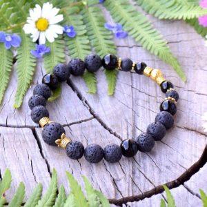 ~SEBEDŮVĚRA~ Minerální náramek z černého onyxu a lávového kamene