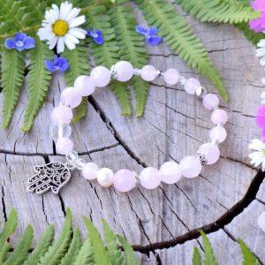 ~ČISTOTA~ Minerální náramek z madagaskarského růženínu a perel, přívěsek Hamsa