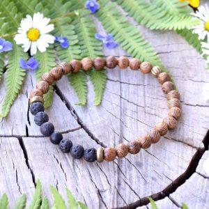 ~(ZE)MĚ~ Pánský náramek ze dřeva a lávového kamene s onyxem