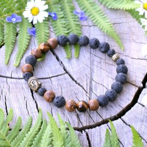 ~SÍLA (ZE)MĚ~ Pánský náramek z tygřího oka, lávy a dřeva s Buddhou