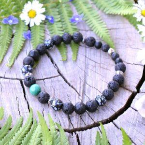 ~VYROVNANOST~ Pánský náramek z malachitu, obsidiánu a lávy, nerez ocel