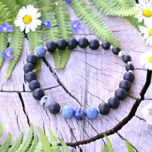~MÍR~ Pánský náramek z černého onyxu a lapisu lazuli, nerez ocel