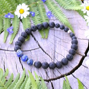 ~MÍR~ Pánský náramek z lapisu lazuli a lávového kamene, nerez ocel