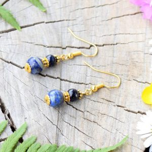 ~KOUZLO~ Visací náušnice s lapisem lazuli a avanturínem