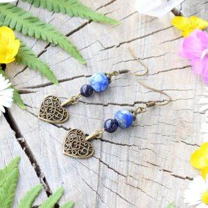 ~INSPIRACE~ Visací náušnice srdce s lapisem lazuli a avanturínem