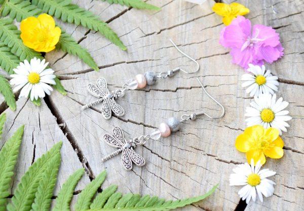 ~NĚHA~ Luxusní perlové náušnice vážky s jaspisem, nerezová ocel