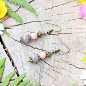 ~ŠTĚSTÍ~ Visací náušnice listy s růžovým opálem a labradoritem