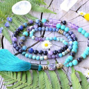 ~INSPIRACE~ Luxusní modlitební korále mála s drúzou, avanturín a tyrkys, 108 korálků