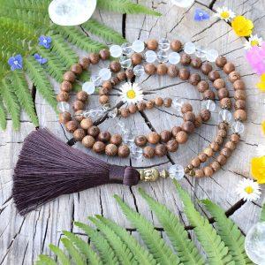 ~STVOŘENÍ~ Modlitební korále mála ze dřeva a křišťálu, 108 korálků
