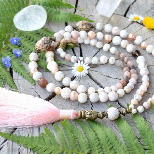 ~MEDITACE~ Unikátní modlitební korále mála s perlami a slunečním kamenem, 108 korálků
