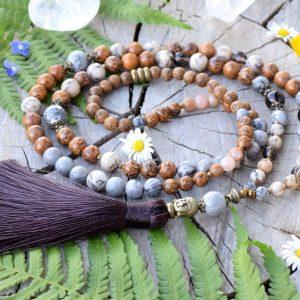 ~TÓNY~ Modlitební korále mála ze slunečního kamene a jaspisu,108 korálků