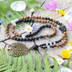 ~(ZE)MĚ~ Dlouhý náhrdelník se stromem života, dřevem a lávovým kamenem