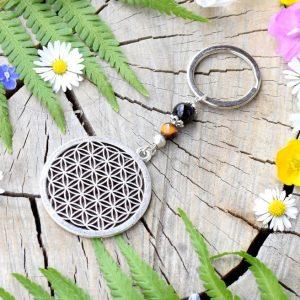 ~SÍLA (ZE)MĚ~ Originální přívěsek na klíče květ života s tygřím okem a onyxem