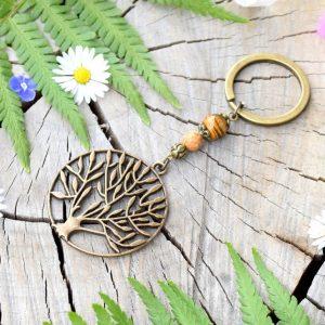 ~NAMASTÉ~ Originální přívěsek na klíče strom života s tygřím okem a jaspisem