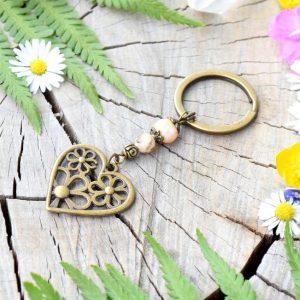 ~MEDITACE~ Originální přívěsek na klíče srdce s pravou perlou a živcem