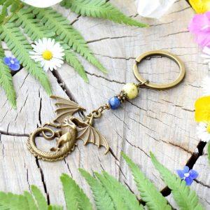 ~Z TAJEMNÉHO LESA~ Originální přívěsek na klíče drak se žlutým tyrkysem