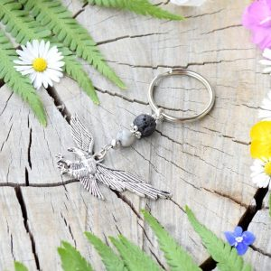 ~TRPĚLIVOST~ Originální přívěsek na klíče orel s lávou a jaspisem