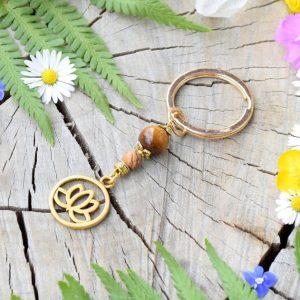 ~INTUICE~ Originální přívěsek na klíče lotosový květ s tygřím okem a jaspisem