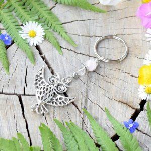 ~ČISTOTA~ Originální přívěsek na klíče sova s růženínem a křišťálem