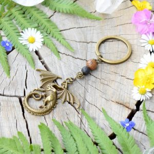 ~(ZE)MĚ~ Originální přívěsek na klíče drak se dřevem a lávou