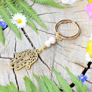 ~SNY~ Originální přívěsek na klíče Hamsa s pravou perlou a magnezitem