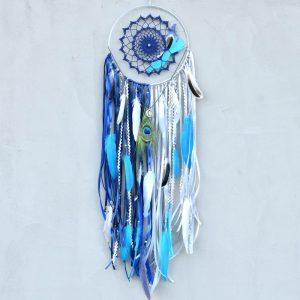 ~TŘPYTIVÁ NOC~ Jedinečný ručně vyráběný lapač snů s pírky a lapisem lazuli, 25x90 cm