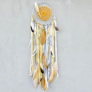 ~PAPRSKY SLUNCE~ Jedinečný ručně vyráběný lapač snů s pírky a pyritem, 20x80 cm