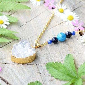 ~KOUZLO~ Jedinečný náhrdelník s drúzou achátu srdce, apatit a lapis lazuli, nerez ocel