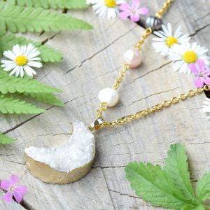 ~SNY~ Jedinečný perlový náhrdelník s drúzou achátu Měsíc, nerezová ocel