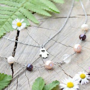 ~NĚHA~ Dvojitý boho řetízek s pravými perlami a Hamsou, nerezová ocel