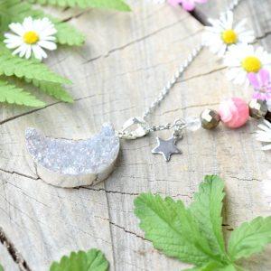 ~SNĚNÍ~ Jedinečný náhrdelník s drúzou achátu Měsíc, argentinský rodochrozit, nerez ocel