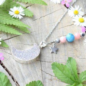 ~RADOST~ Jedinečný náhrdelník s drúzou achátu Měsíc, růžový opál a hemimorfit